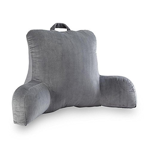 3. VELOUR GREY BEDREST READING POSTURE ARM PILLOW SOFT BACK SUPPORT BED REST